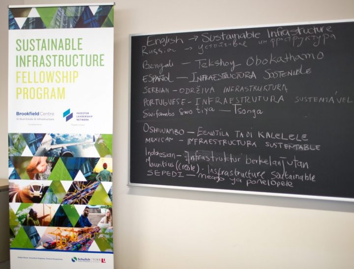 Portrait of chalkboard writing: Sustainable Infrastructure Fellowship Program in multiple languages.